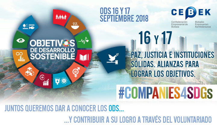 Companies4sdgs - Objetivos de desarrollo sostenible - Objetivos 16 y 17 - Paz, Justicia e Instituciones sólidas.  Alianzas para lograr los objetivos.